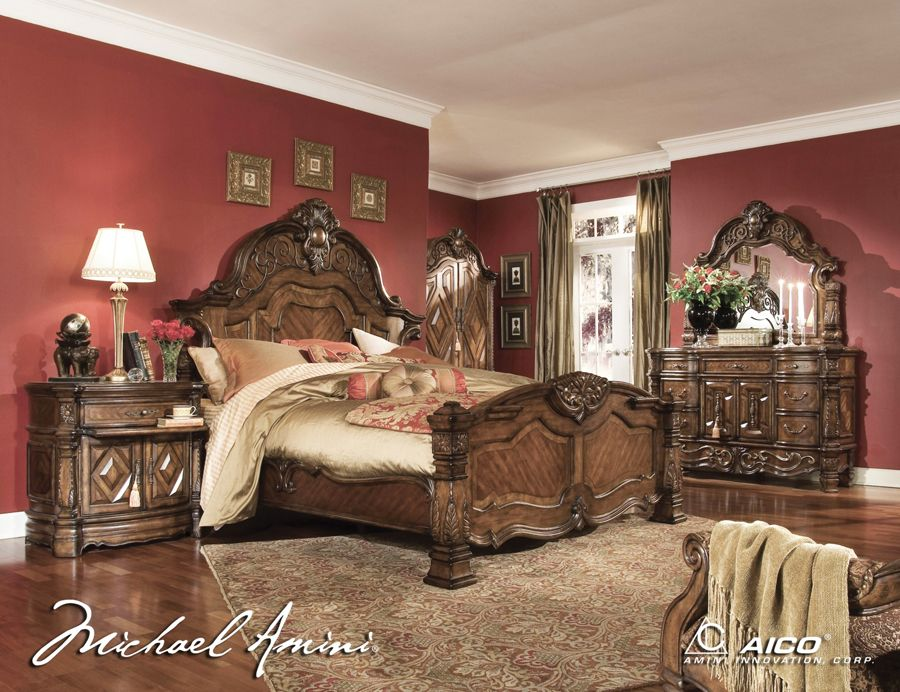 Elegant King Size Bedroom Sets | AICO 6pc Windsor Court King Size Bedroom Set In  Vintage Fruitwood