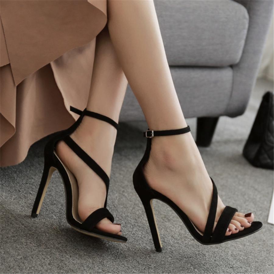 buckle with high heel sandals