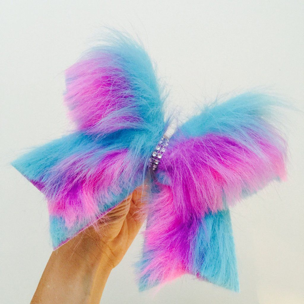 Cheer bow holder for cheer bows and hair bows cheer bow hanger - Furry Cotton Candy Fur Cheer Bow Pink Purple Blue Cheerleading Bowscheerleading