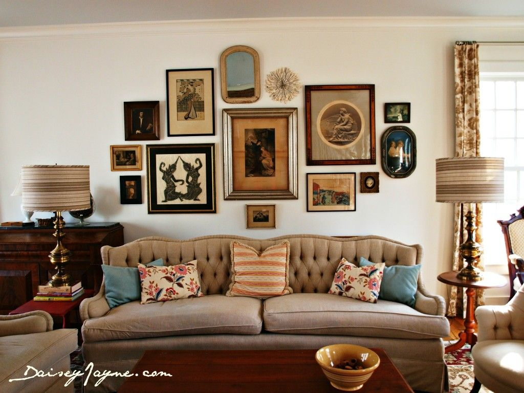 Gallery Wall Behind Couch Using Objects Mirrors Paintings And Prints Also Great Color Pale Vintage Living Room Design Vintage Living Room Living Room Wall