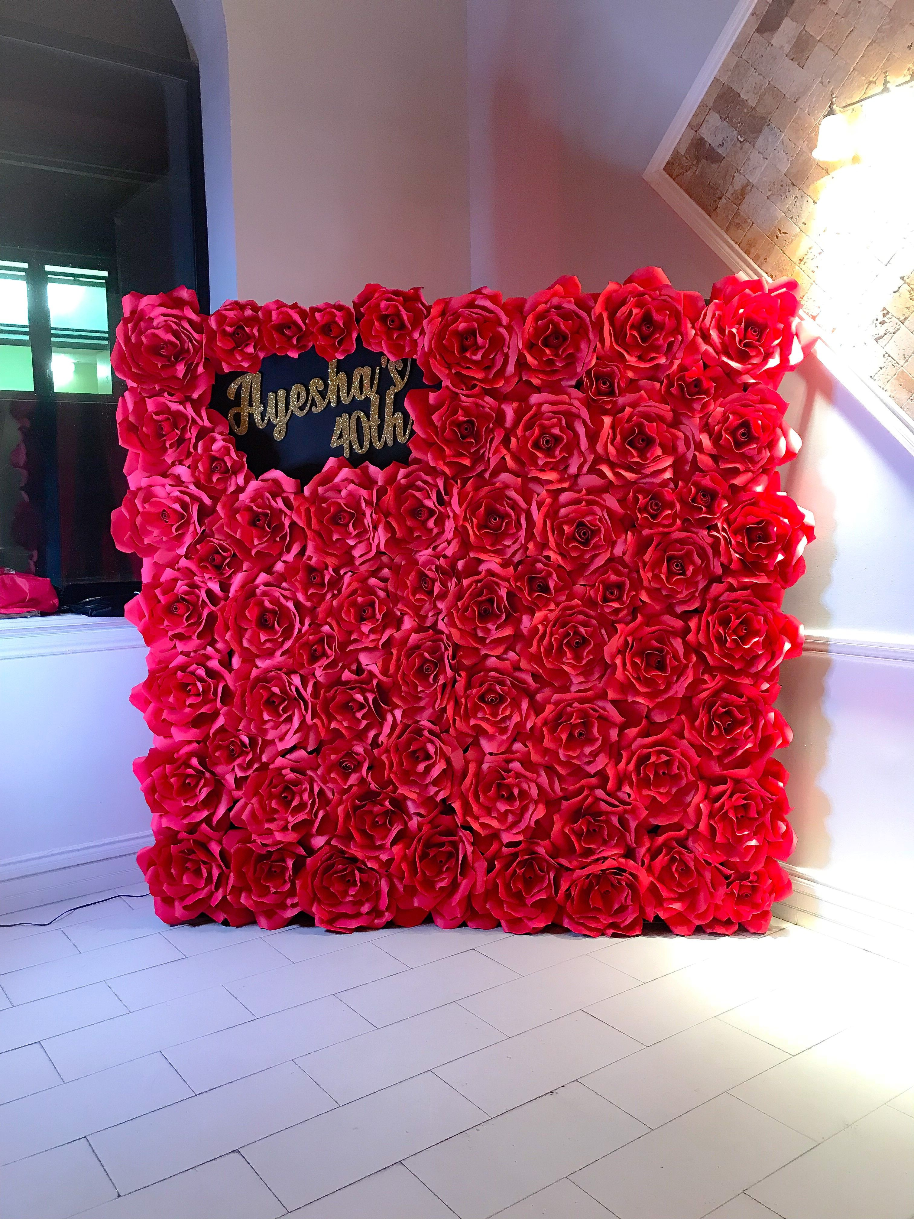 Red Rose Flower Wall Backdrop Paperflowerwall Backdrop Paperflower Flowerwall Red Rose Wedding Flower Wall Backdrop Roses Decoration
