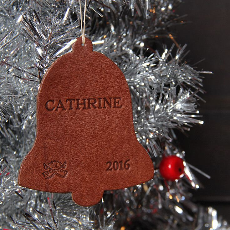 Col Littleton Personalized Leather Bell Christmas Ornament From The 2016 Collection Made In The Usa Leather Diy Crafts Leather Diy Christmas Ornaments