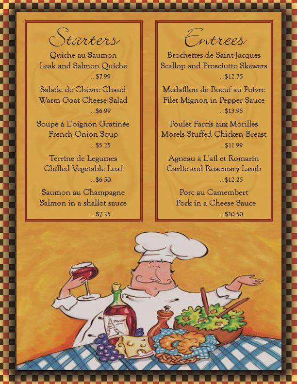 Le menu french france francais pinterest france for Restaurant le jardin neufchatel menus
