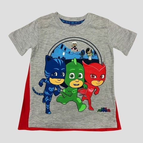 d07c38e6 PJ Masks Toddler Boys' PJ Masks Short Sleeve T-Shirt With Cape Gray ...
