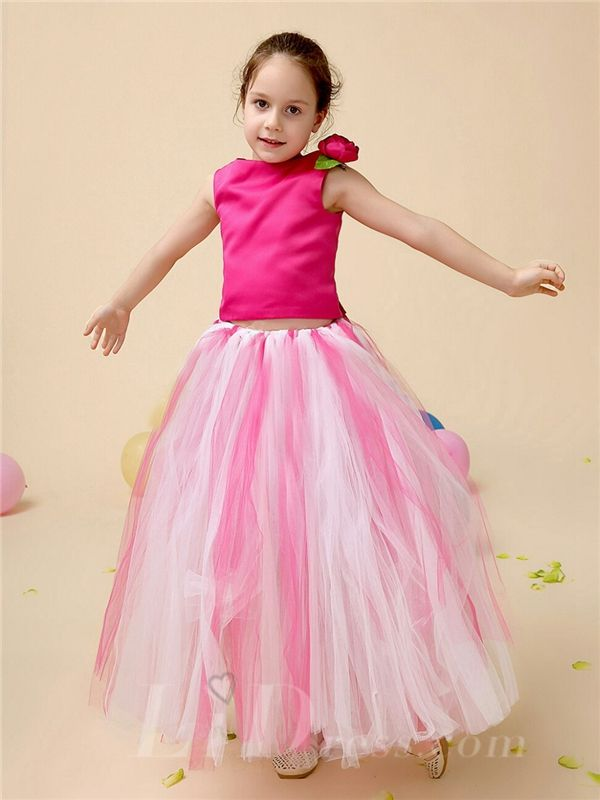 Little Girls Rose Performance TuTu Dress Flower Girls Skirt