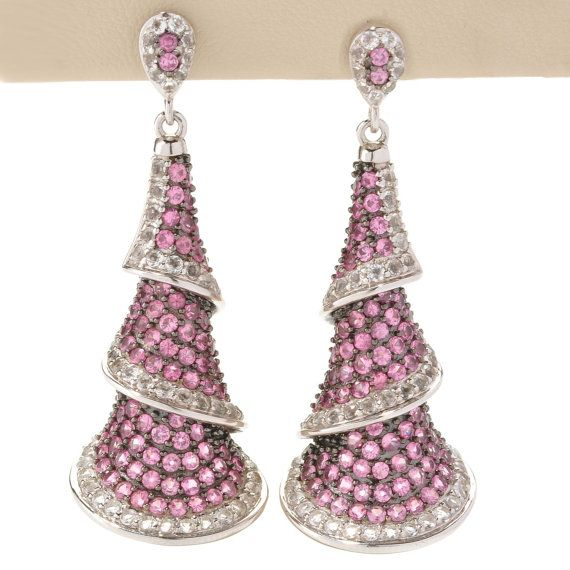 "Sterling Silver 8.29ctw Pink Spinel Drop & Dangle Earring  1.87""L"