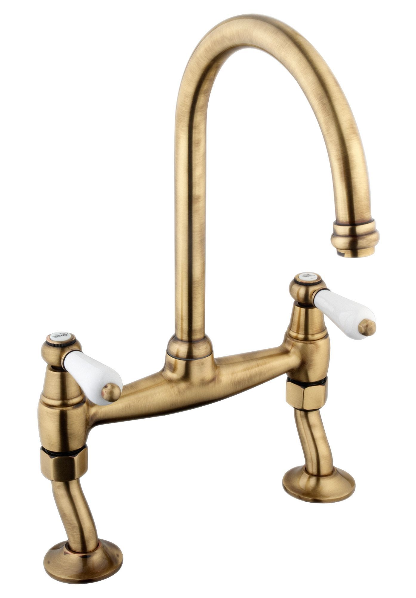 Cooke & Lewis Chambley Antique Brass Effect Bridge Mixer Tap ...