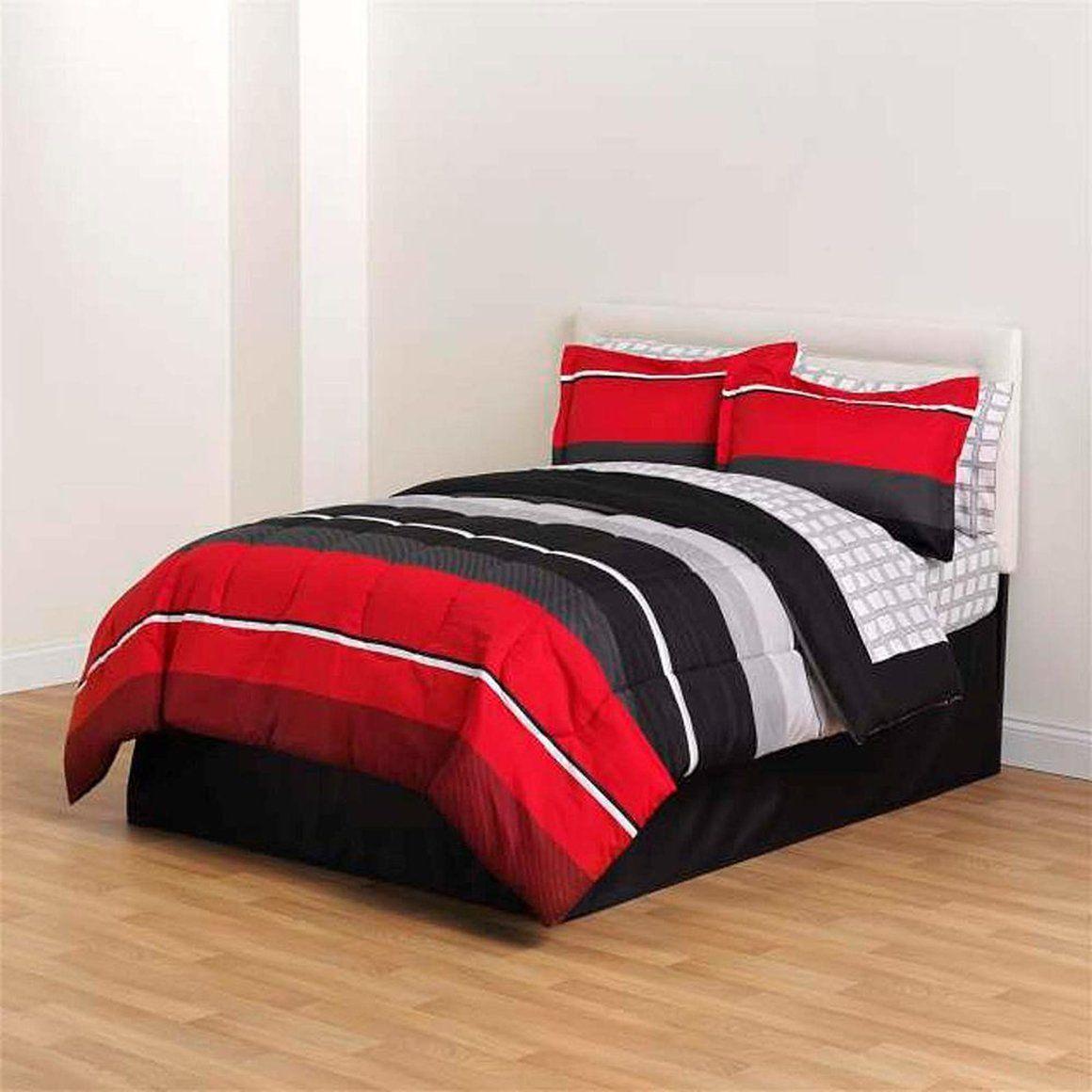 Full Comforter Set Black Red Gray White Rugby Boys Stripe Complete