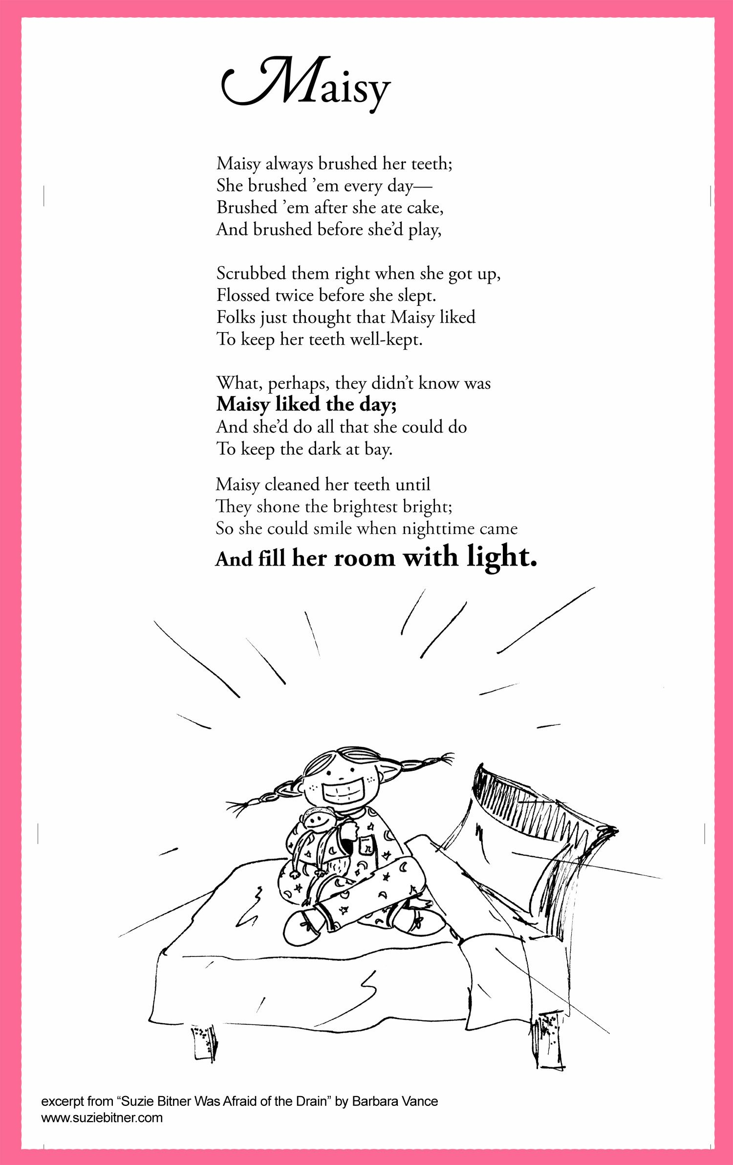 Funny Children S Poem About A Girl Who Is Afraid Of The