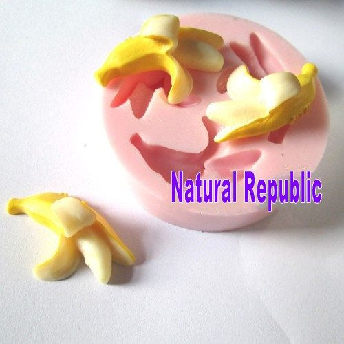 3Cavity Banana Fruit Polymer Clay Mold Fondant by NaturalRepublic, $4.99