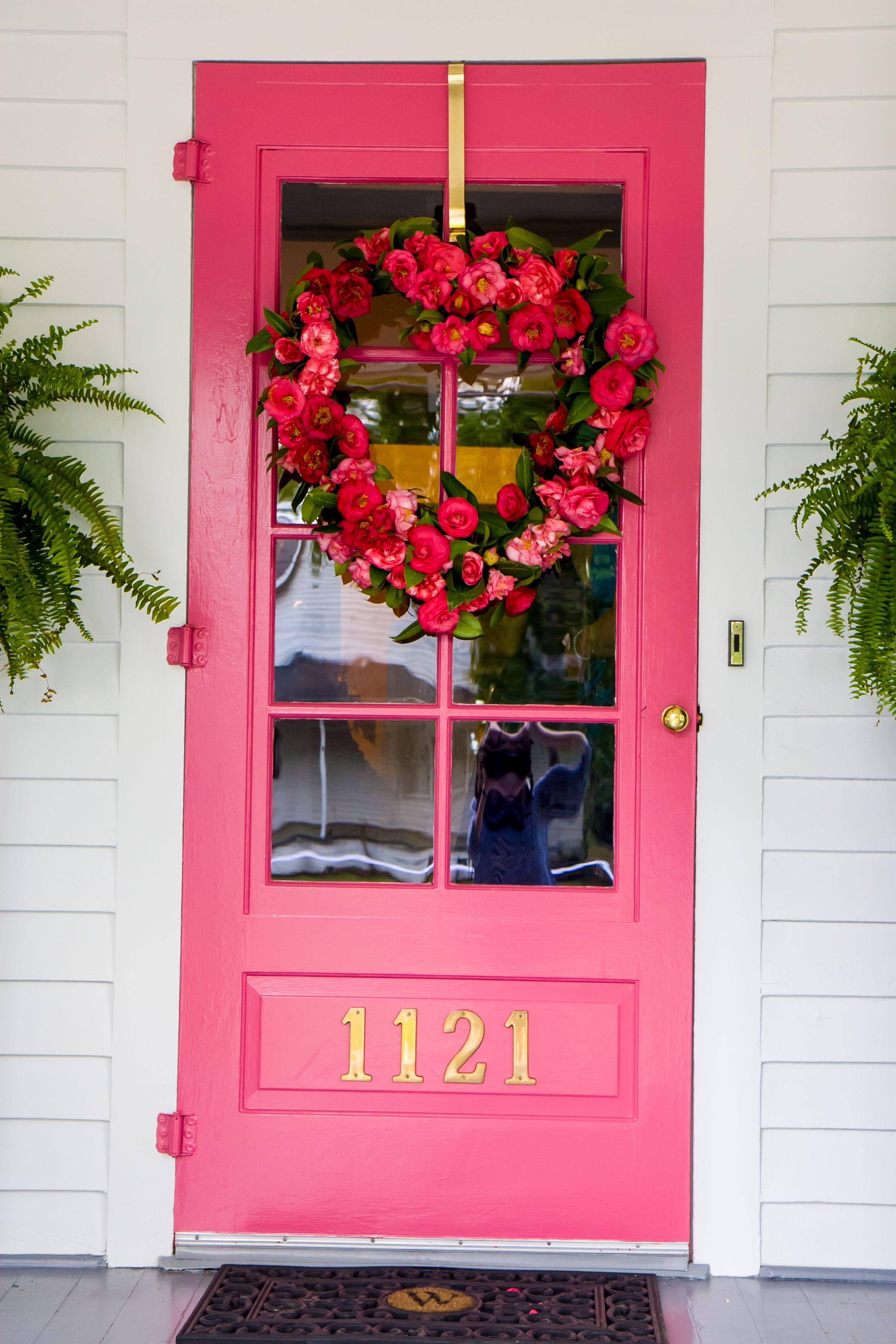 Hot Pink Front Door Flower Heart Wreath Pink Front Door Pink