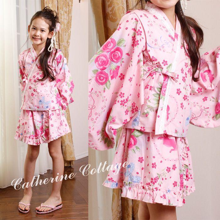 a3947788f40cb 浴衣ドレス、着物ドレス    子供ベビー用 浴衣ドレス風甚平+プチ兵児帯セット 女の子用 (子供甚平 キッズ甚平)yukata kimono  dress jinbei キャサリンコテージ