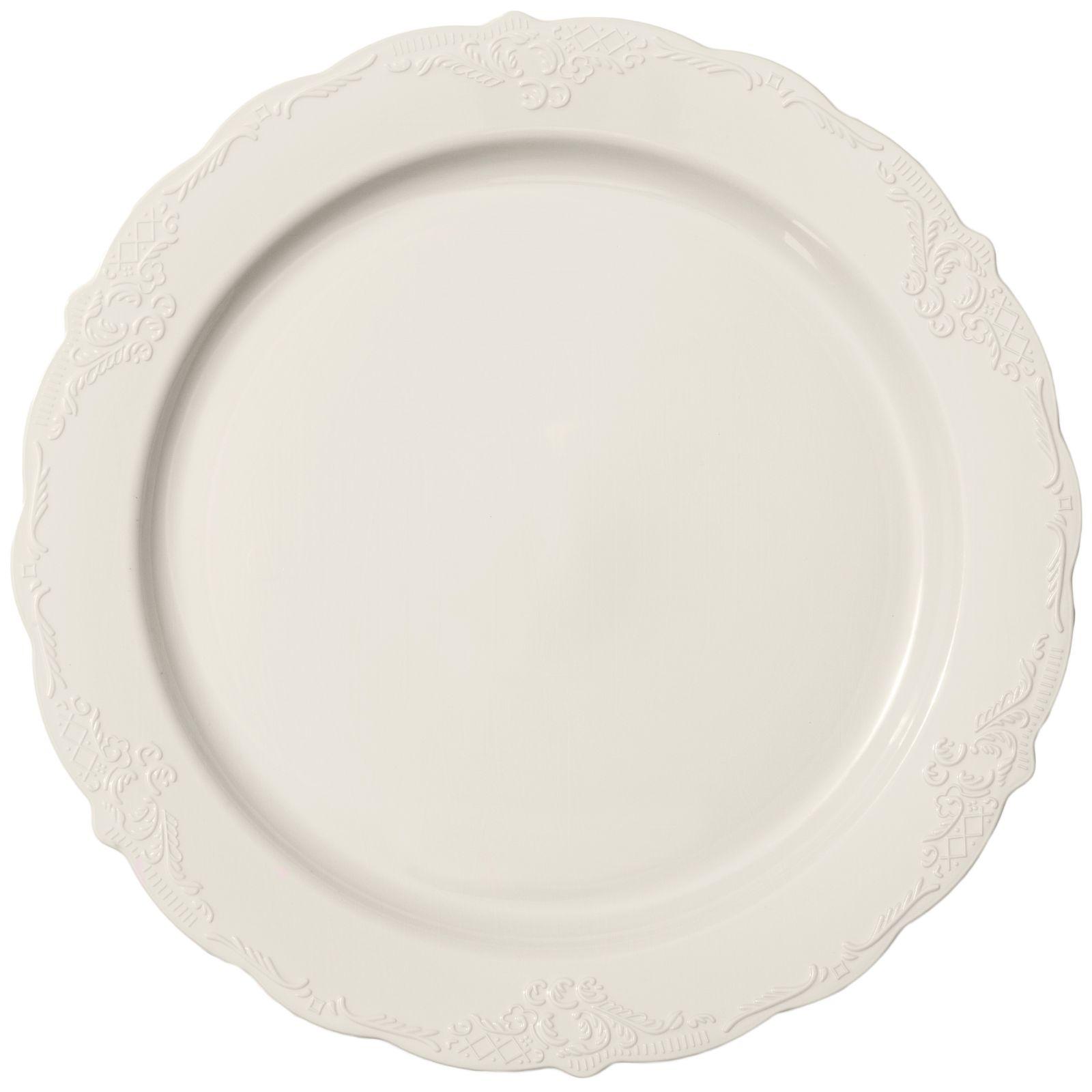 1607 9 Vintage Ivory Plastic Buffet Salad Plates