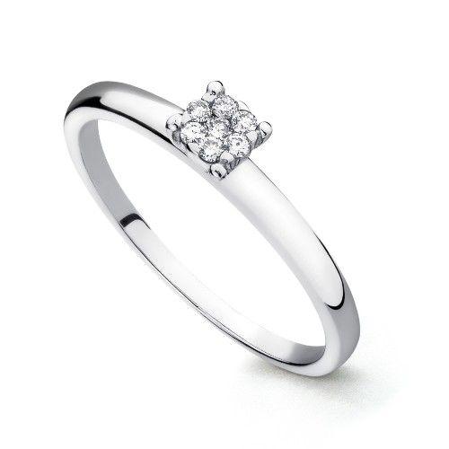 Anel Em Ouro Branco 18k Chuveiro Com Diamantes An25003 Kt