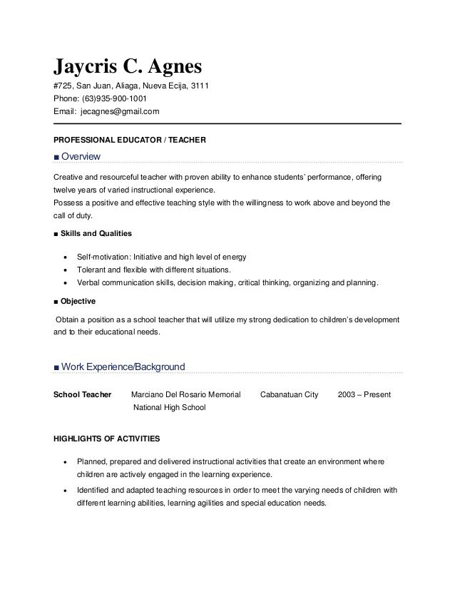 Teachers Resume Http Www Teachers Resumes Com Au Instructors