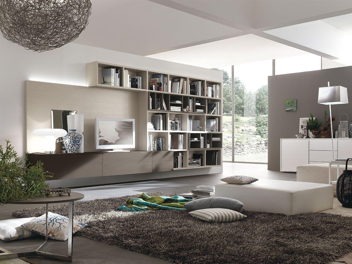 Parete attrezzata per soggiorno moderno atlante c301 for Salotto casa moderna
