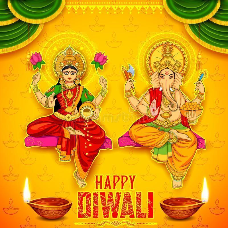 Goddess Lakshmi and Lord Ganesha on happy Diwali Holiday doodle background for l…