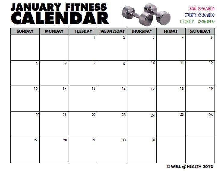 Blank January Workout Calendar Printable Well of Health FITNESS