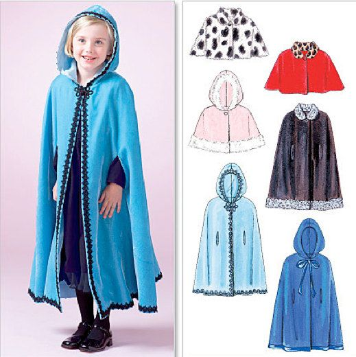 Girl's CAPE & CAPELET Sewing Pattern - Girls Fall Winter Poncho Capes Capelets - OOP