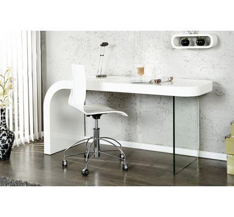 Bureau design blanc laqué et verre Timmen | HOME | Bureau design ...