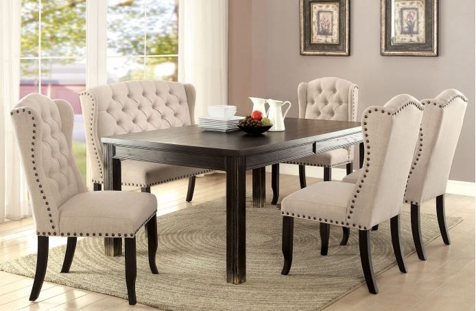 Cm3324bk Sania I Dining Set Dining With Bench Tufted Bench Black Dining Room Upholstered Dining Bench Dining Chairs