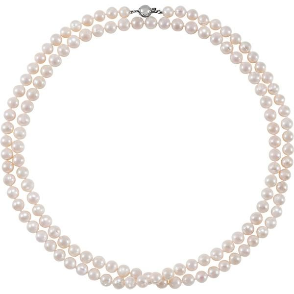 Weight: 1.17 g Length: 42 inches Pearl Color: White Finish State: Polish Pearl Quantity: 134 Pearl Size: 8 mm to 9 mm Metal Type: Sterling Silver Pearl Type: Freshwater Culture