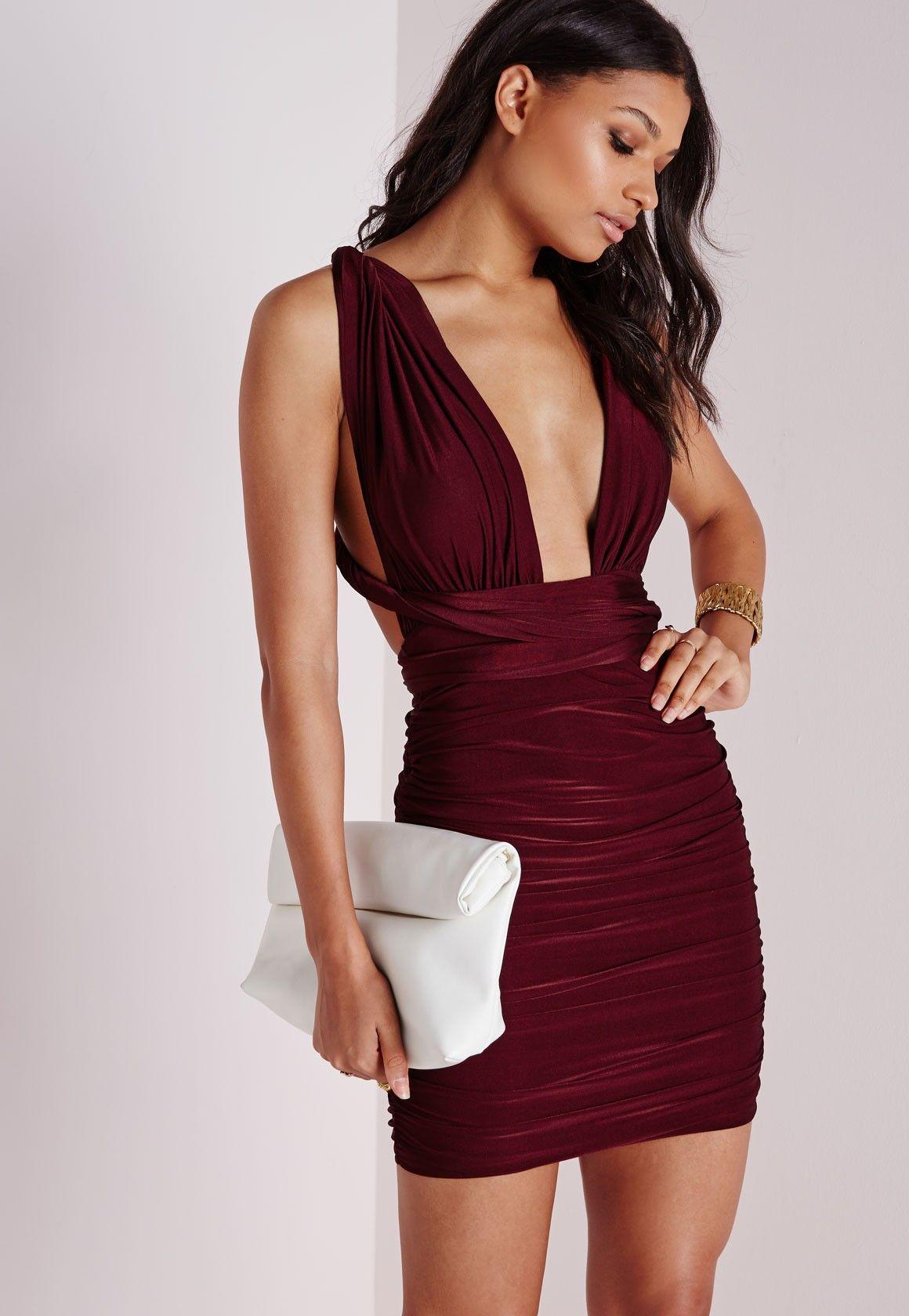 Multi Way Slinky Bodycon Dress Burgundy - Dresses - Bodycon ...