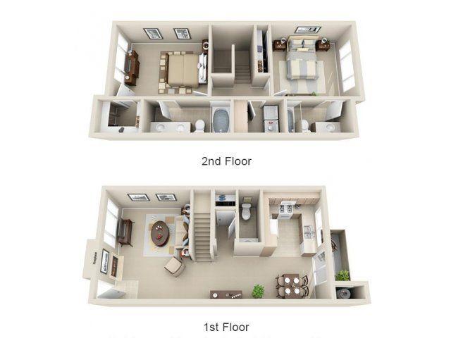 2 Bed 2 Bath Apartment In Mesa Az Lakeview At Superstition Springs Apartments Casas Sobrados Planos