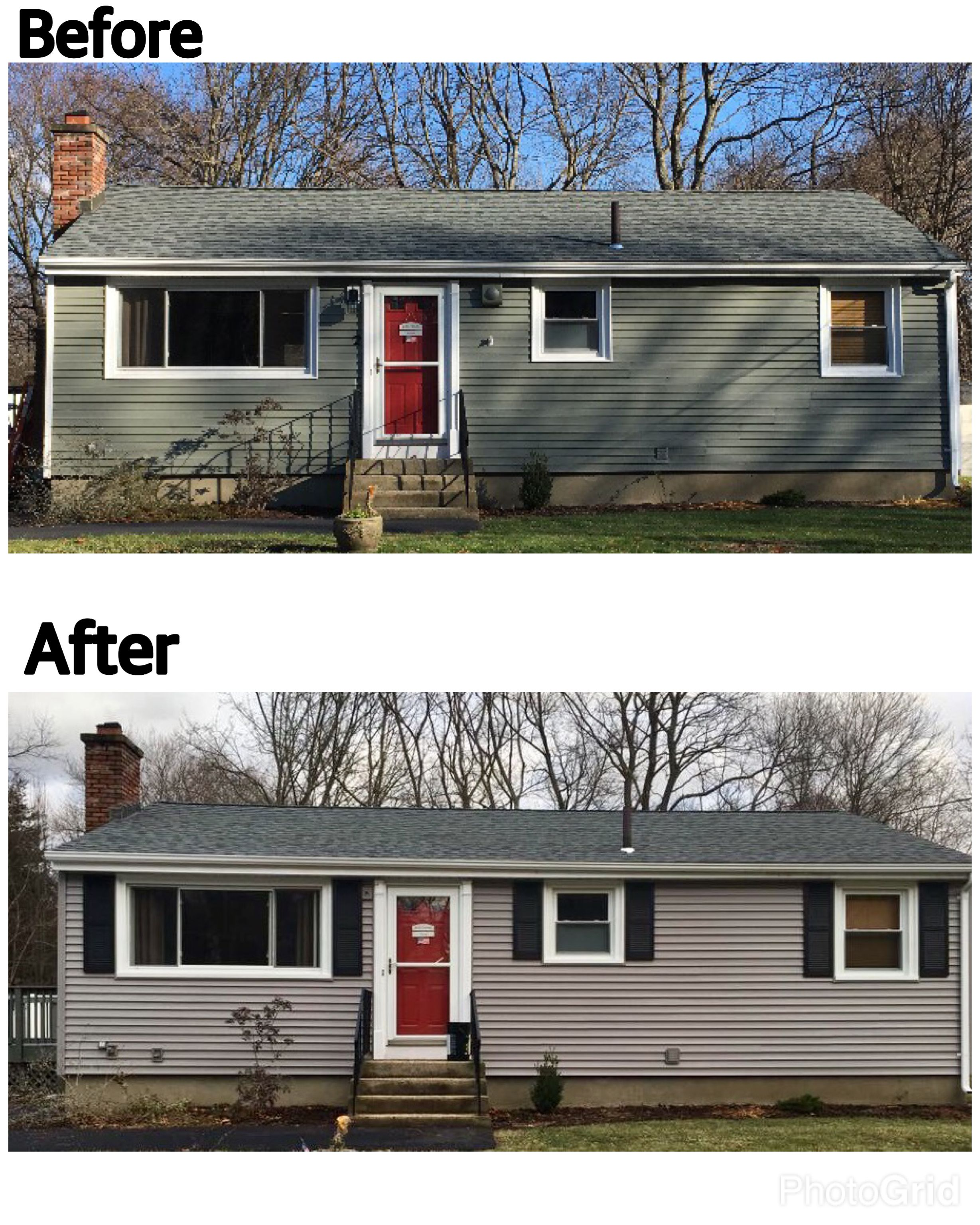 Before After Siding Project Using Plygem Siding In Harbor Grey And Certainteed Roofing In Granite Grey Vinyl Siding Exterior Colors Siding