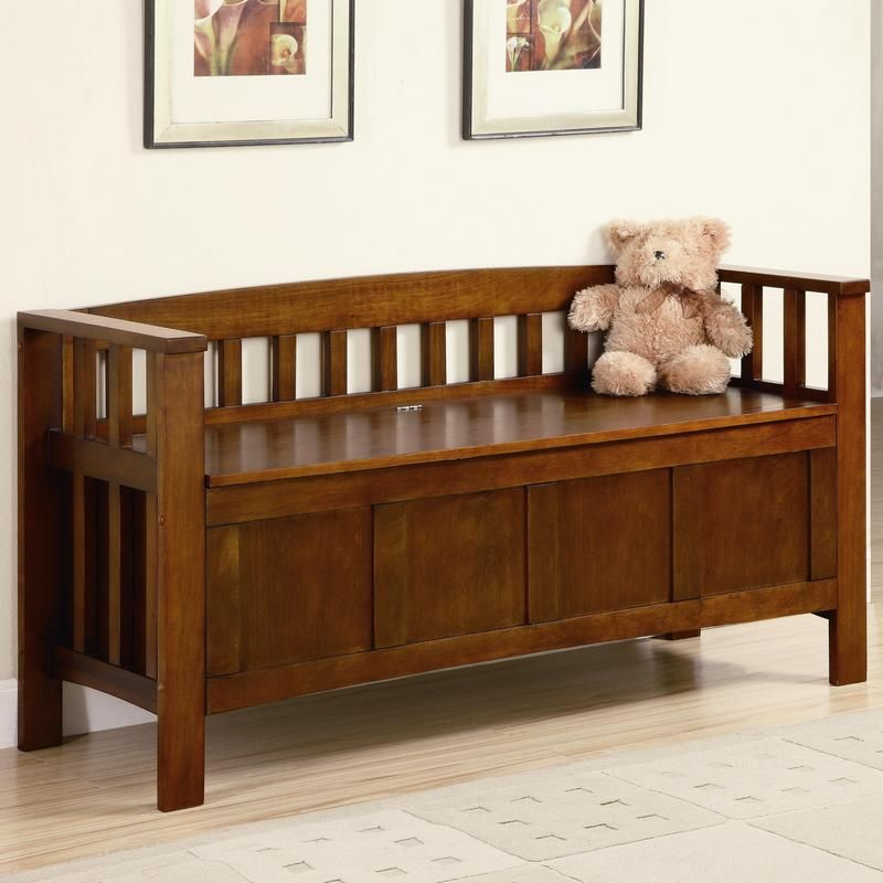 C501008 Transitional Wood Flip Top Storage Bench In Walnut Finish