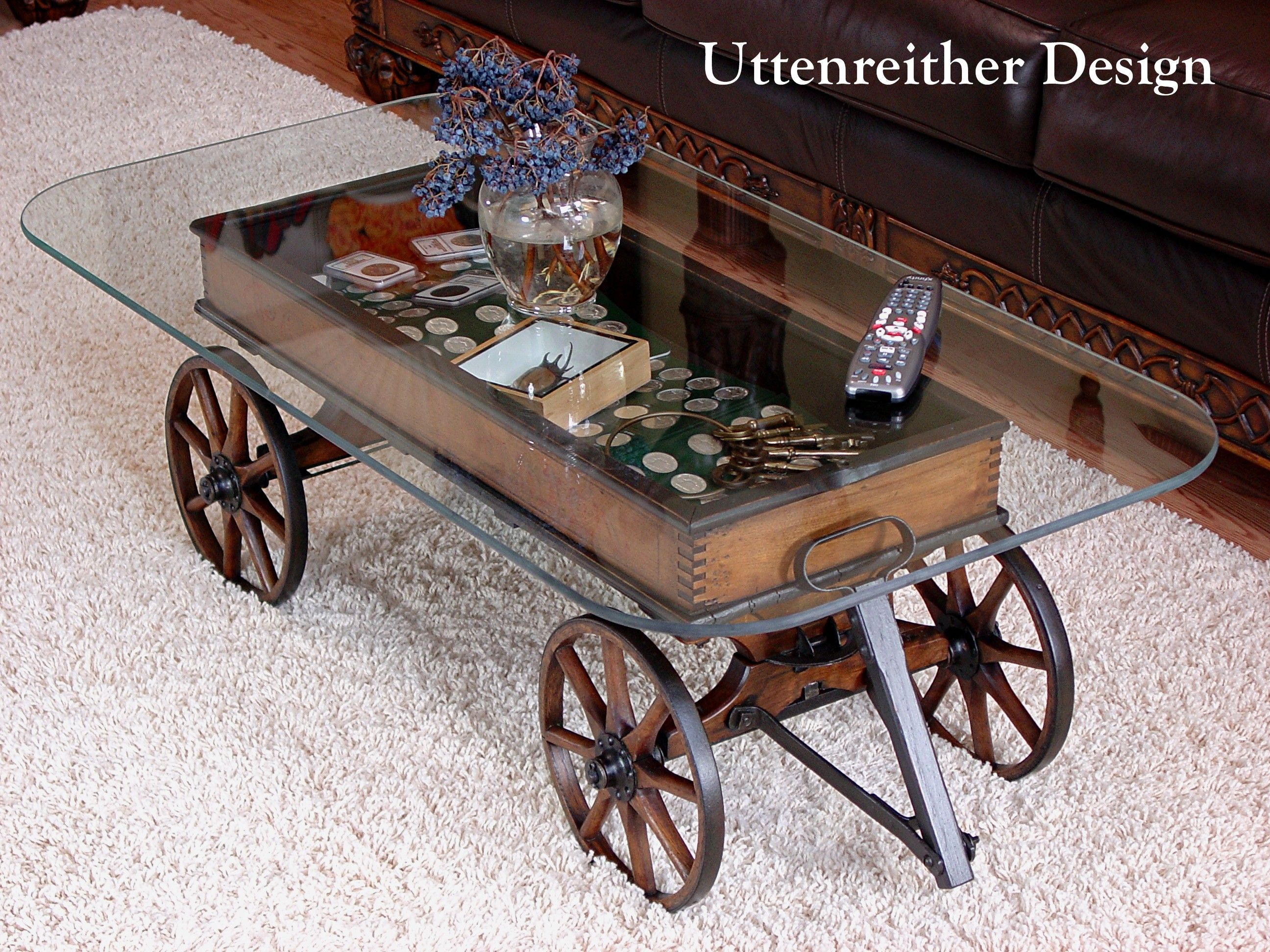 Uttenreither Design Wood Wagon Glass Coffee Table Glass Top