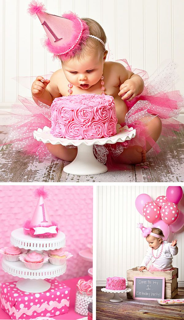 For the smash-cake, I got two different types of cupcakes - one with gold sprinkles and one with pink; I also got gold and pink balloons... to see which will look best.  I have a small glass cupcake stand.  She'll only be wearing white bloomers and maybe a hat or headband.