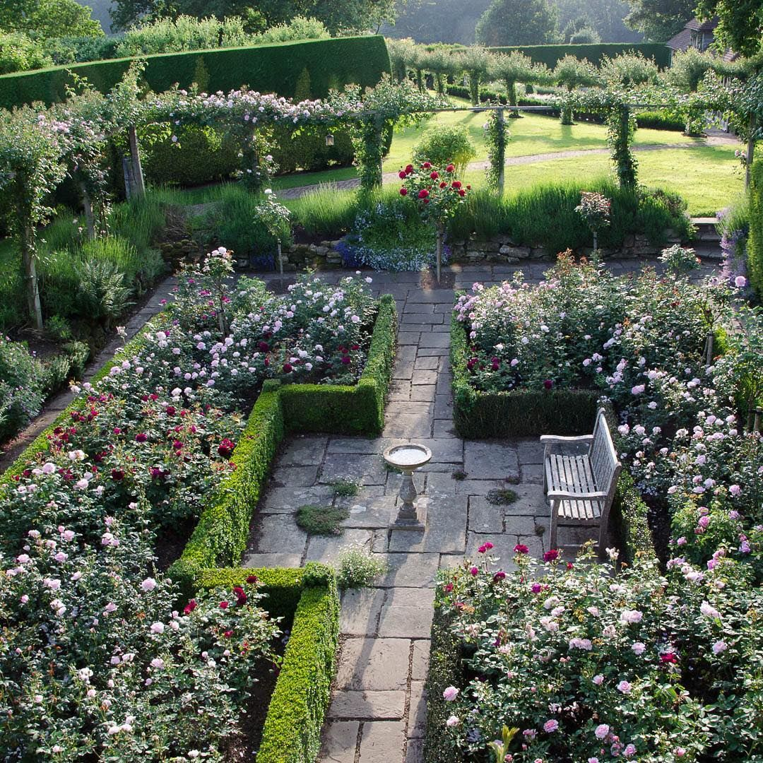 Sunken Rose Garden Looking Great In The Evening Sun There Are Over 600 Roses In The Garden Open At 2 Rose Garden Landscape Rose Garden Design Colonial Garden