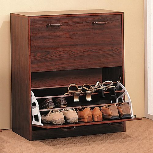 Furniture Fancy Dark Brown Shoe Storage Design | fashionref