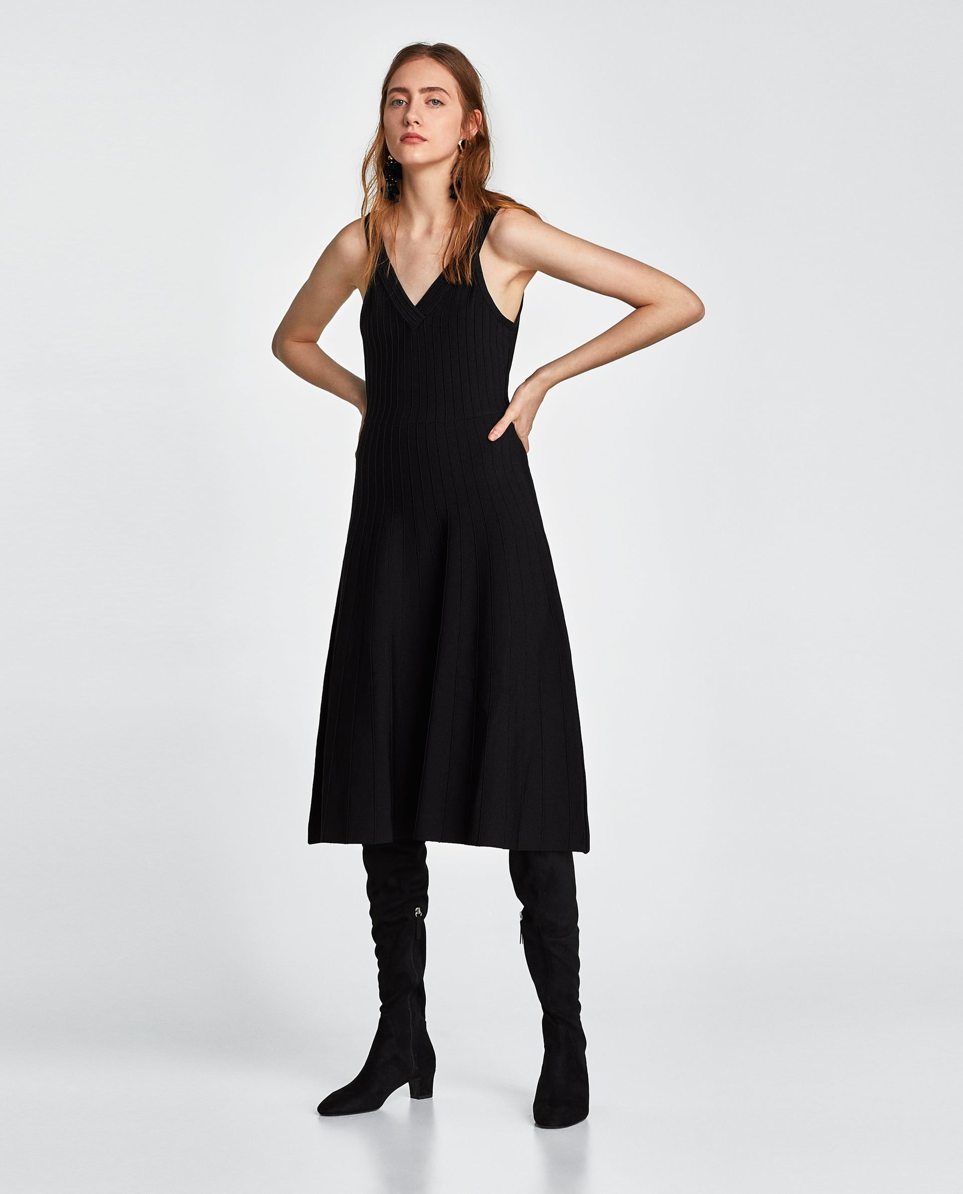 Zara woman long knit dress winter shopping pinterest zara