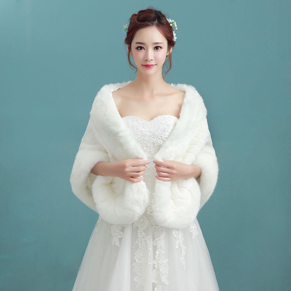 2017 New Arrival Winter Faux Fur Bridal Jacket Warm Boleros ...