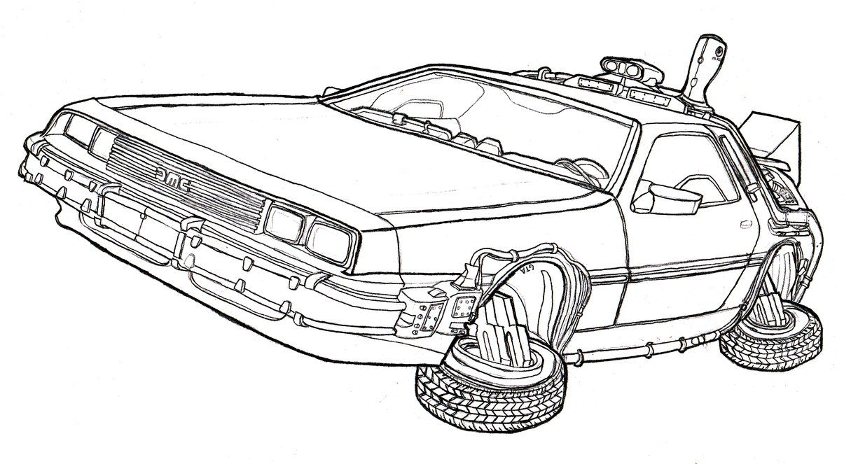 Delorean Dmc 12 Time Machine Back To The Future By Dandelo1 On Deviantart Back To The Future Tattoo Back To The Future Colouring Pages