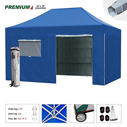 Eurmax Premium 10x15 Pop Up Canopy Instant Outdoor Party Tent Shade Gazebo W 4 Removable Enclosure Zipper End Sidewalls Walls Roller Bag Party Tent Gazebo Tent