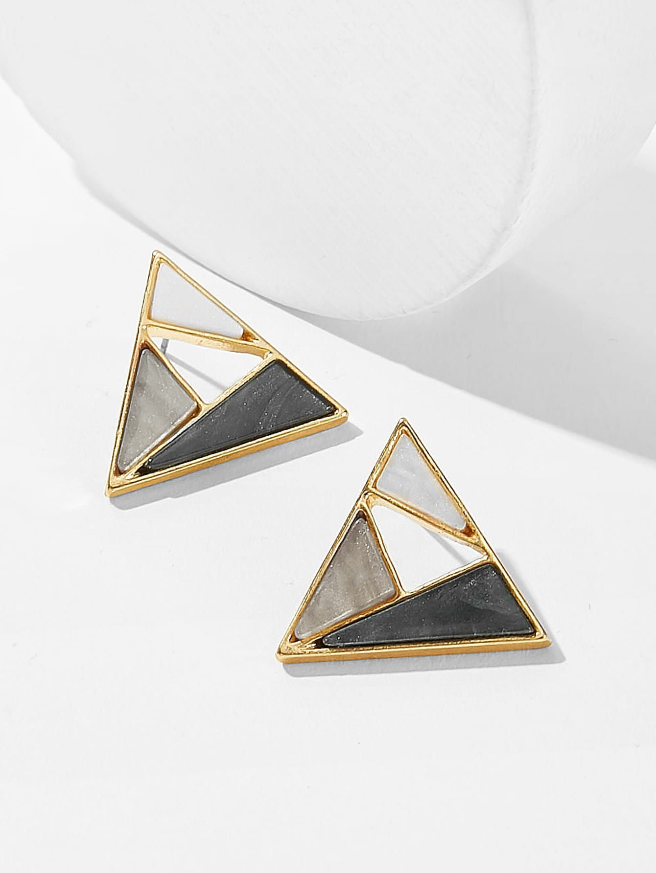 Color-block Triangle Shaped Stud Earrings 1pair Color-block Triangle Shaped Stud Earrings 1pair ,