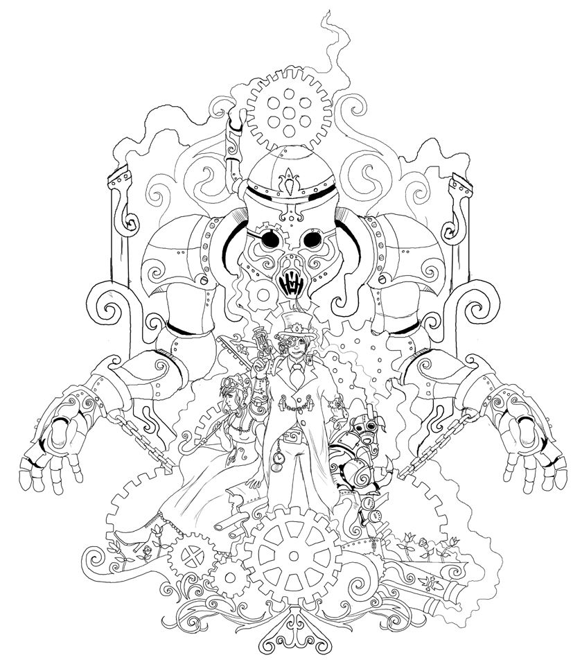 victorian steampunk coloring pages - photo#9