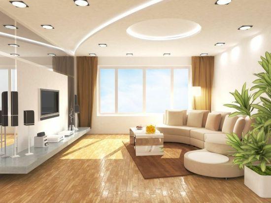 schöne decken verspieltes design große pflanze wohnzimmer