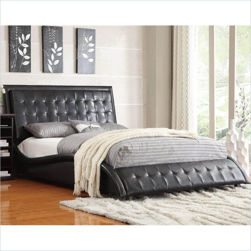 coaster tully upholstered queen bed in black - Black Queen Bed