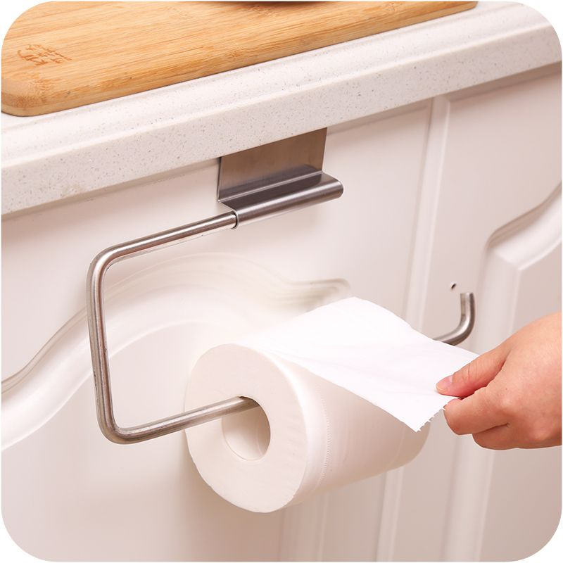New Stainless Steel Paper Towel Roll Holder Cabinet Cupboard Door Hanging Rack Shelf Toilet Paper Holder K Toilet Paper Holder Towel Rack Bathroom Toilet Paper