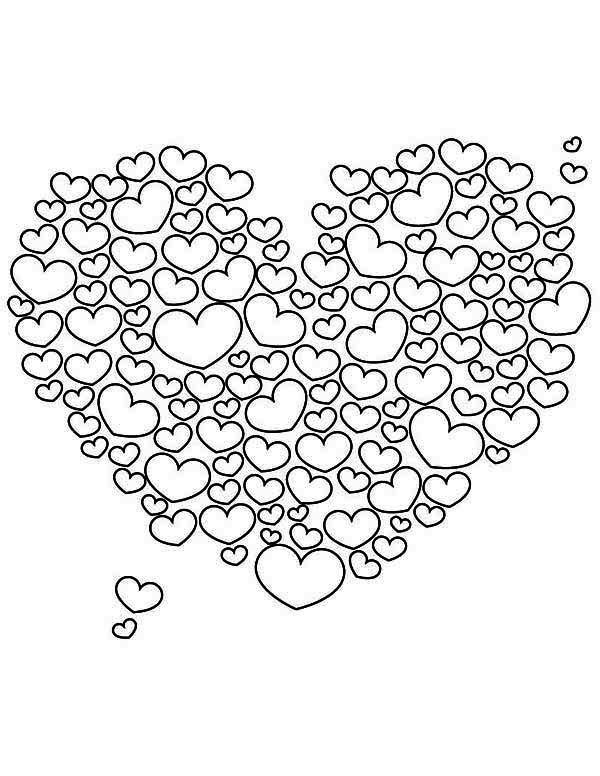 A Giant Heart Shaped Cloud On Valentine's Day Coloring Page - Download & Print Online Coloring Pages for Free