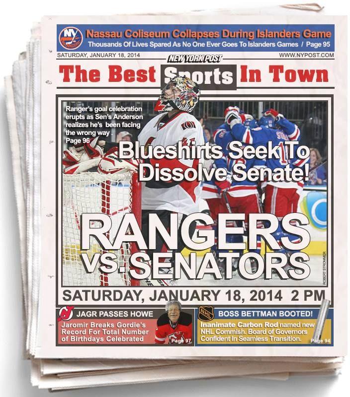Rangers vs. Senators 1/17/14
