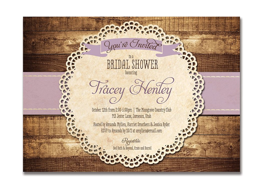 Rustic bridal shower invitation purple wood lace baby shower rustic