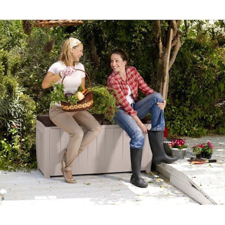 Outdoor Furniture Clearance Lockable Storage Bench Decorative Pool Deck Box  #Keter