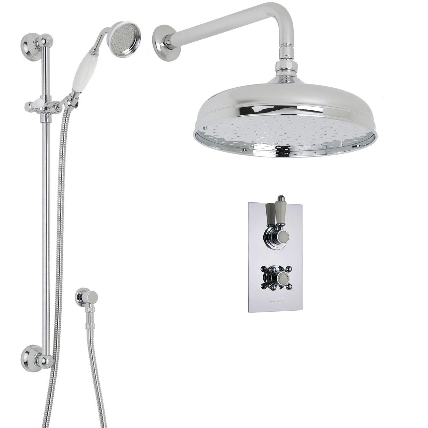 Traditional Thermostatic 2 Outlet Shower System With 12 Ceiling