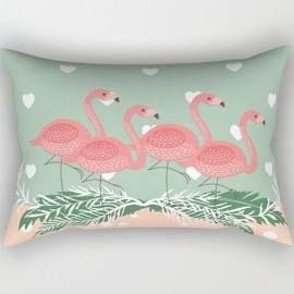 Pink Flamingos And Hearts Decorative Throw Pillows Nursery