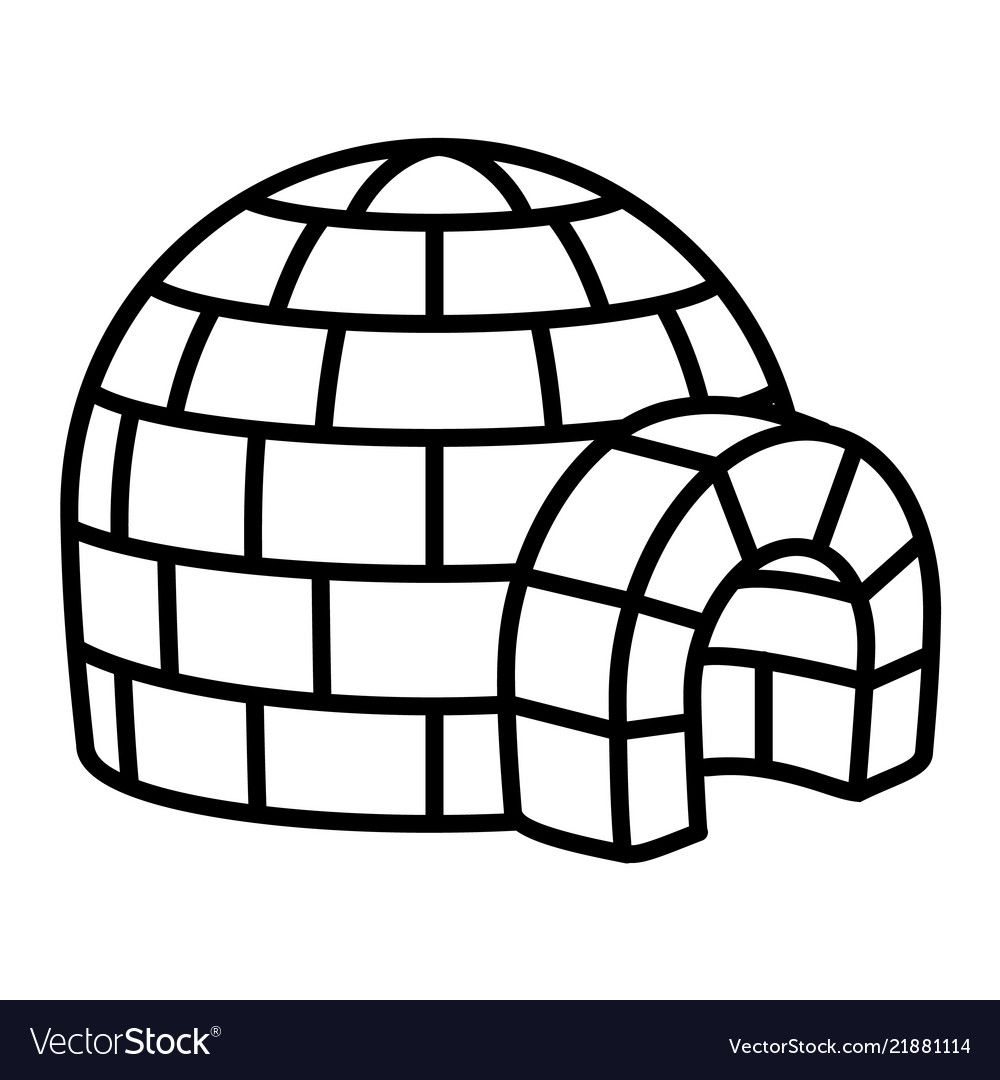 Igloo icon outline style vector image on Outline images